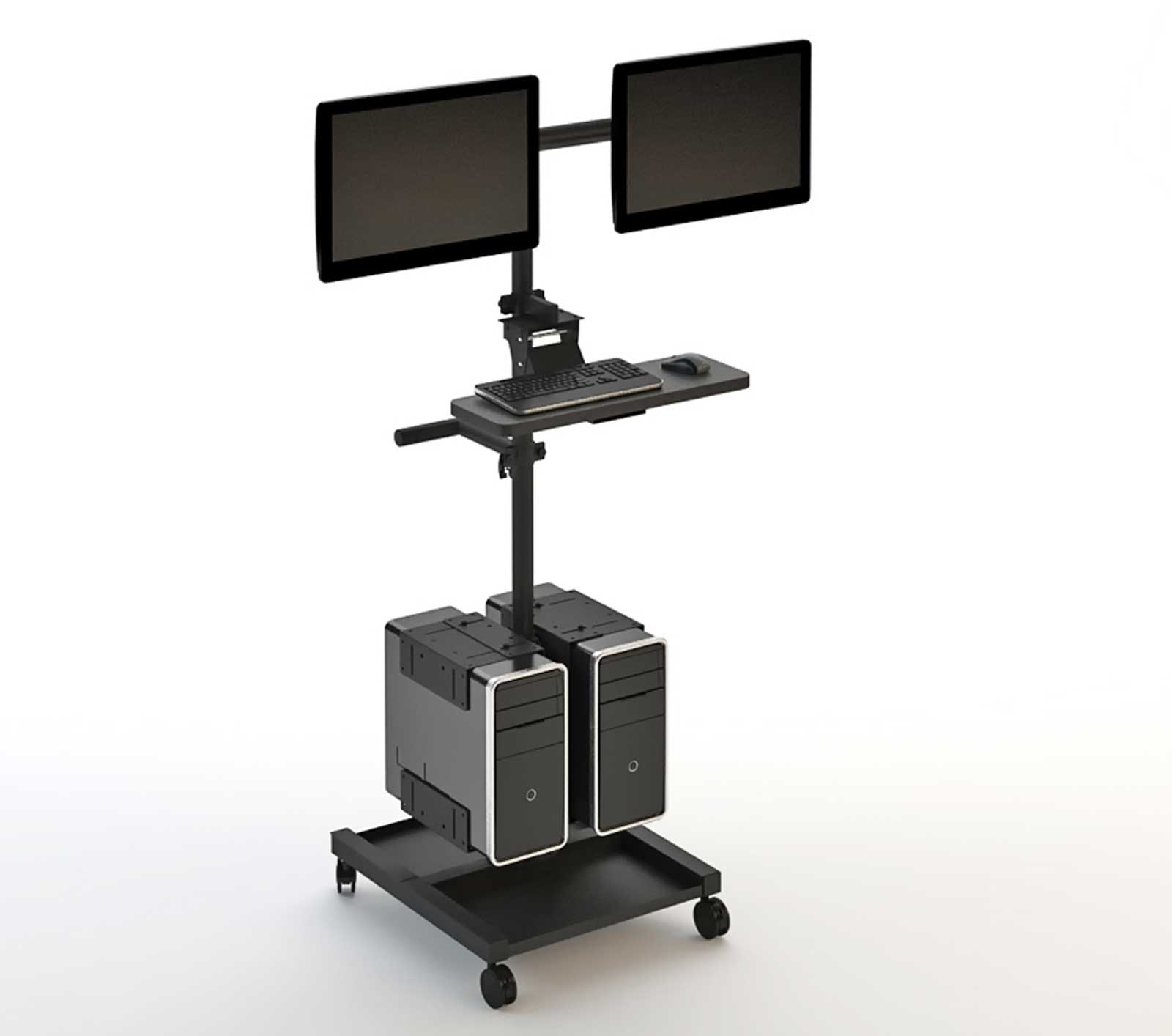 Dual Fusion Black Computer Cart