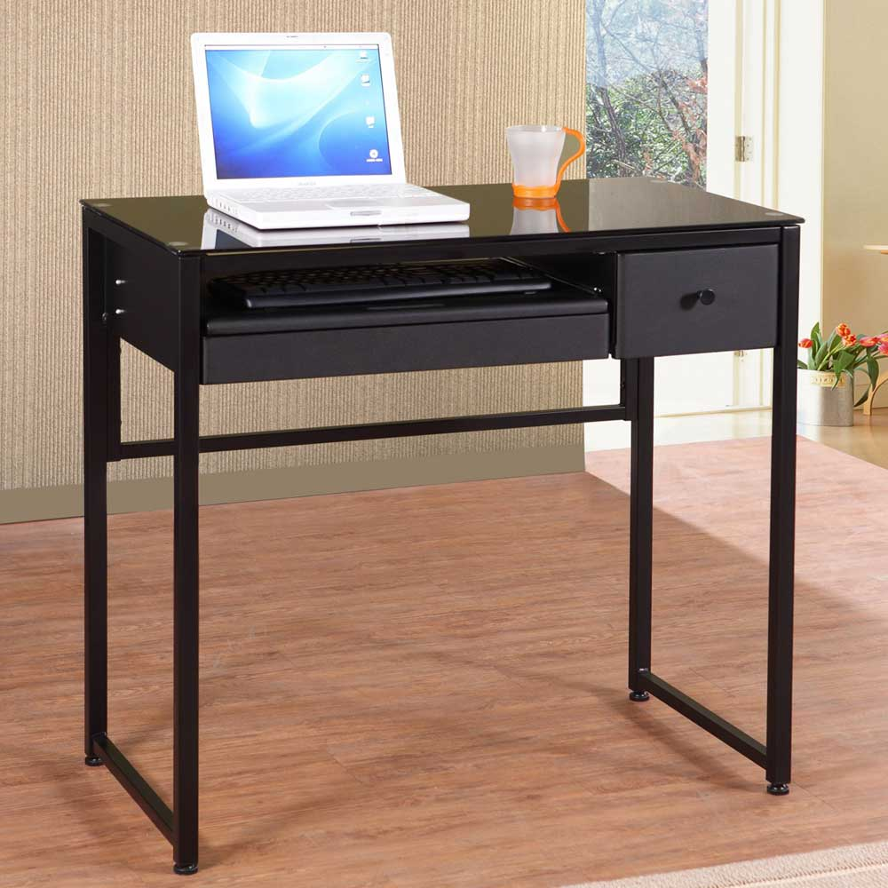 Black Glass Computer Desk for Home Office