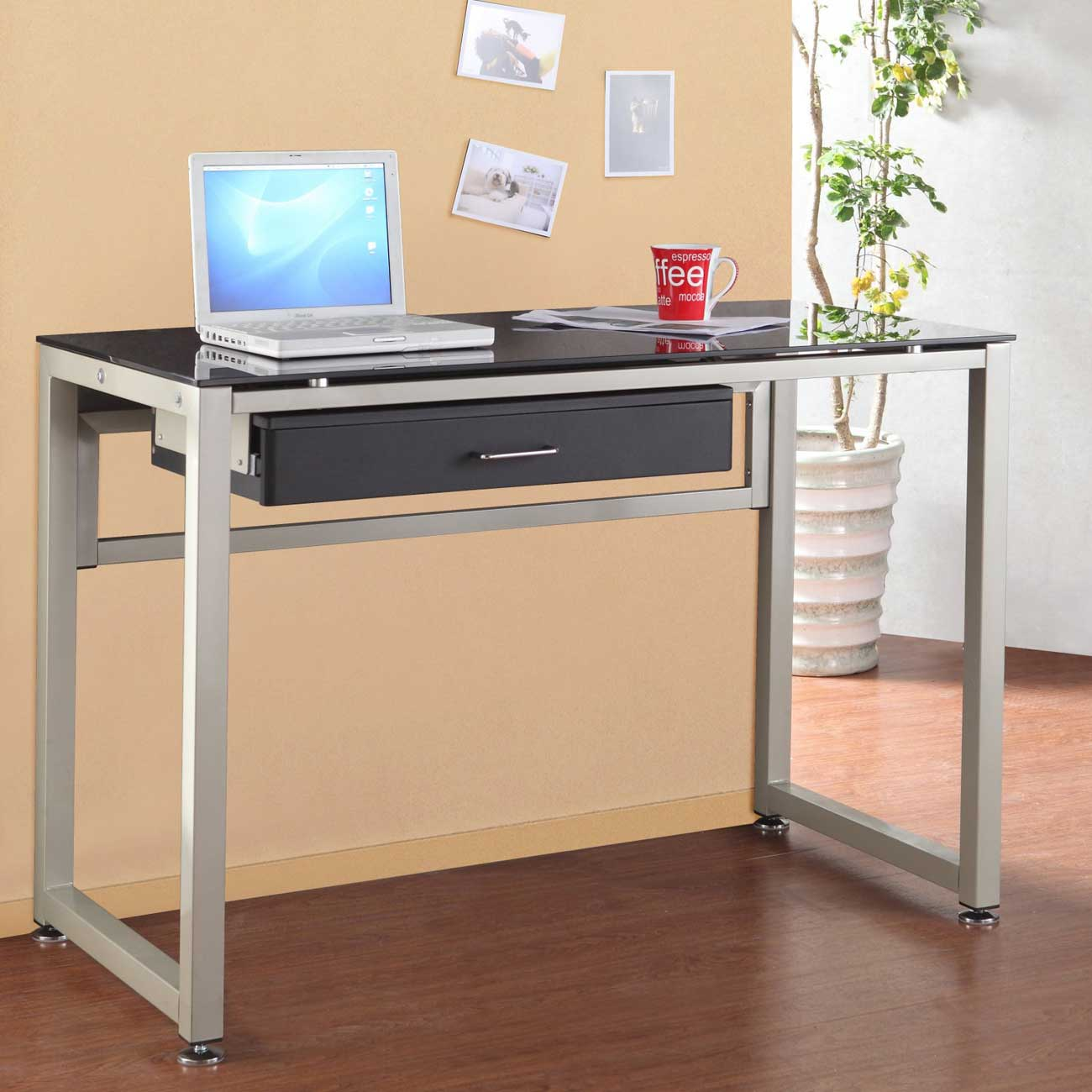 Europa Metal Frame Black Glass Computer Desks
