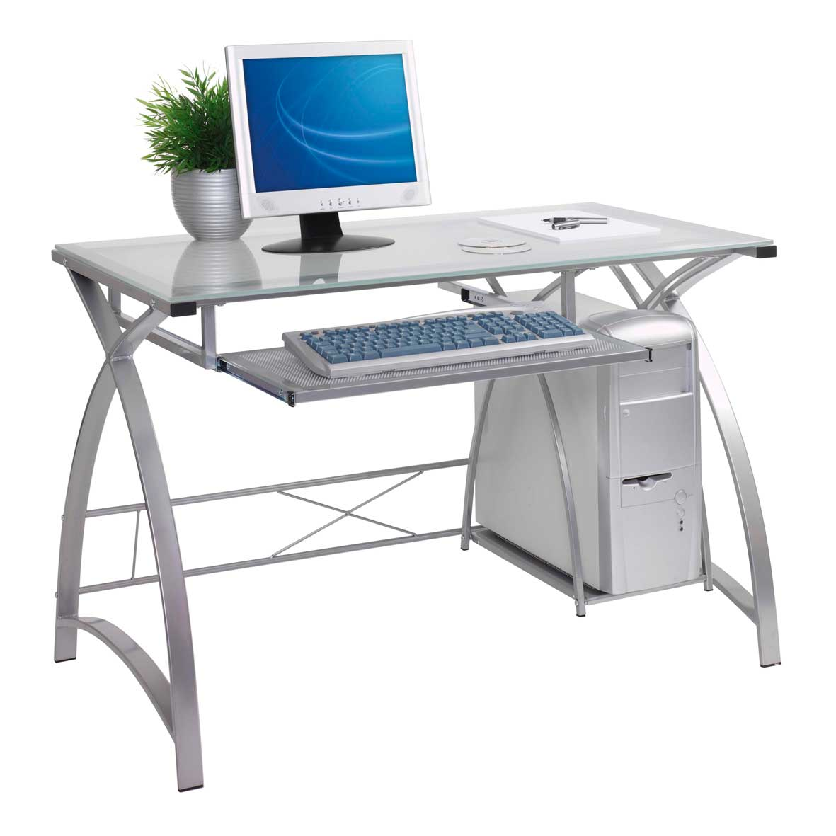 Glass Top Contemporary White Computer Desk with CPU Compartement