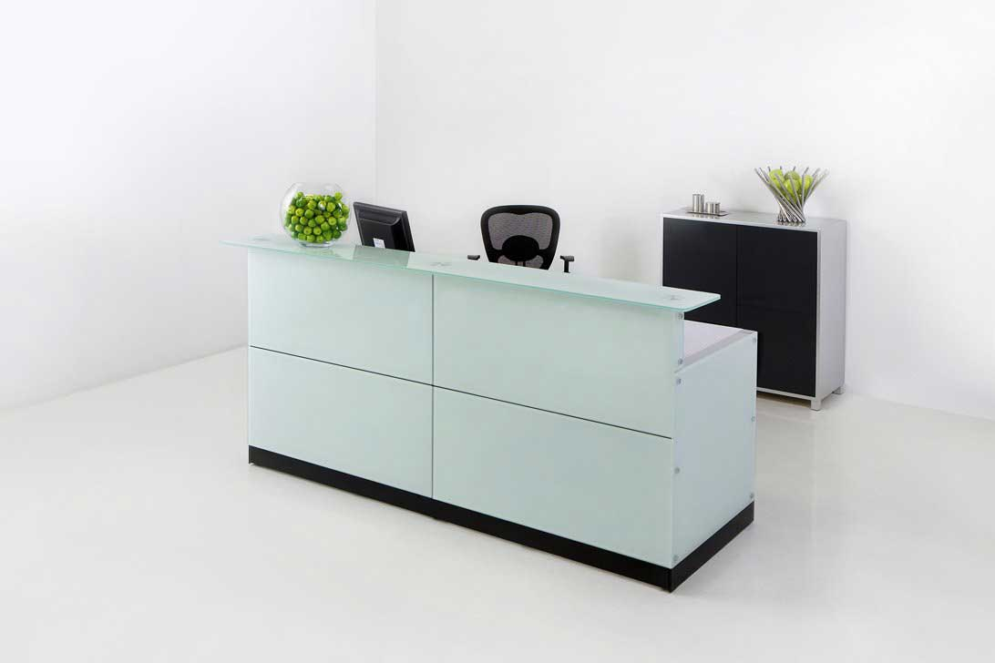 Glass Top Reception Desk for Office