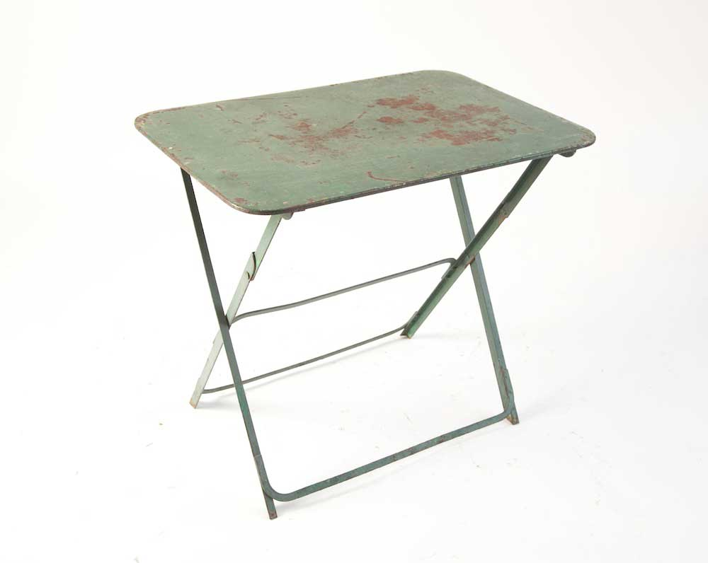 Small Folding Table : Green metal rusted patina small folding table