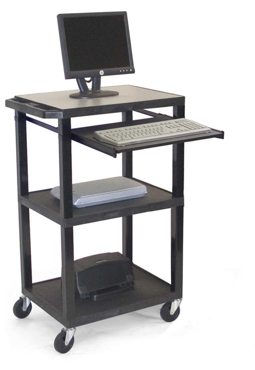 H Wilson Black Computer Workstation with Micro 3 Shelf