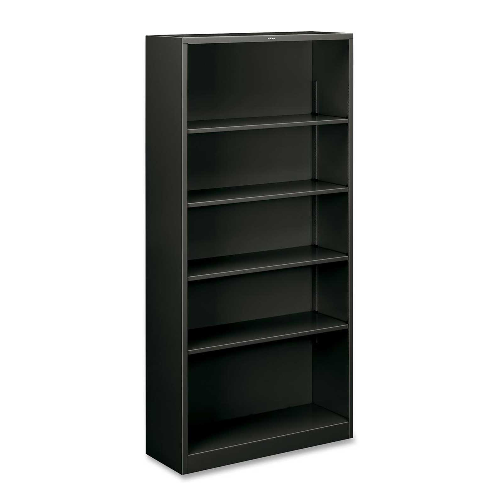 HON metal bookcase black with five shelves