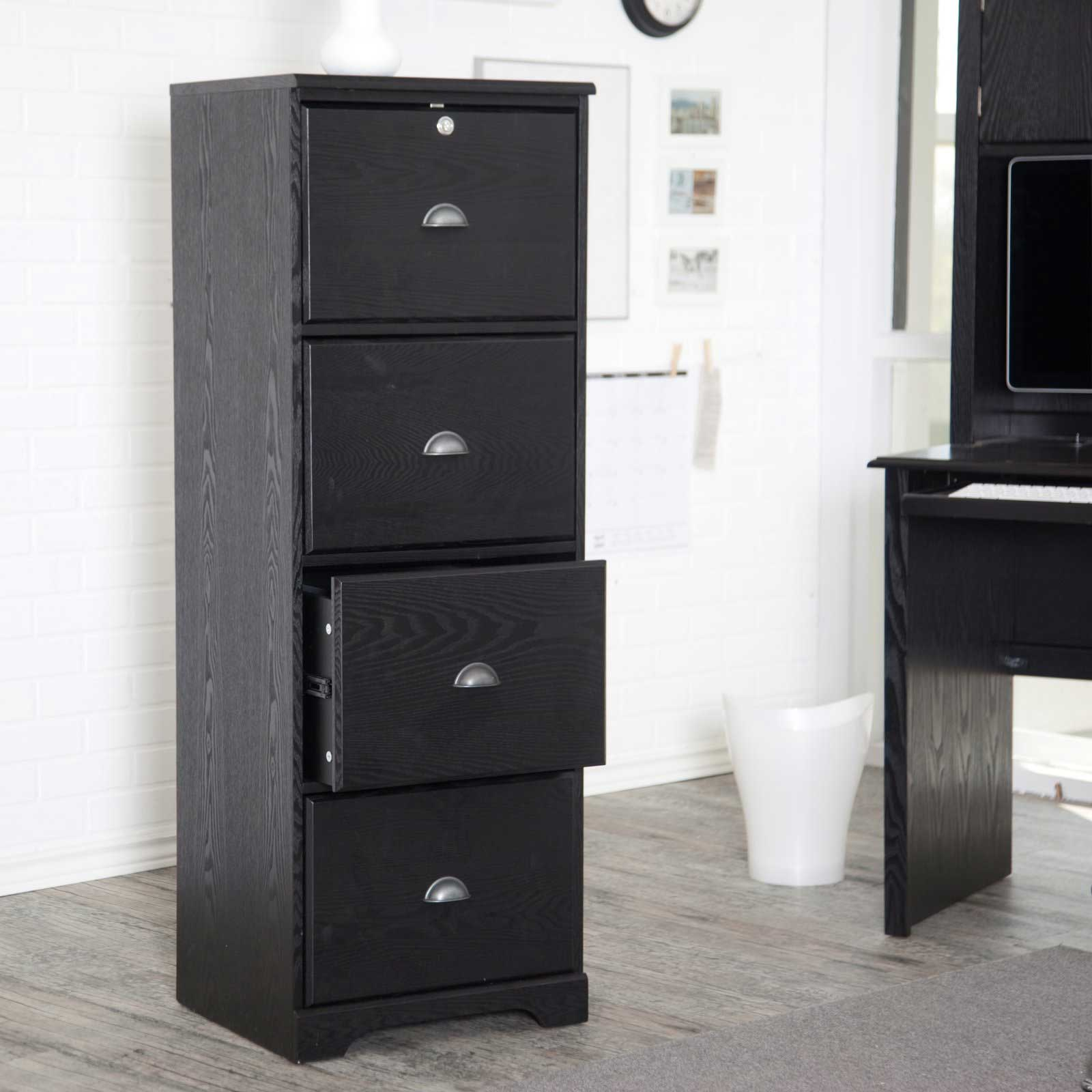 Hawthorne 4 Drawer Solid Wood Black Vertical Filing Cabinets