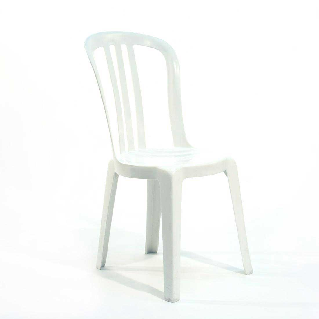 High Back White Resin Stack Chair