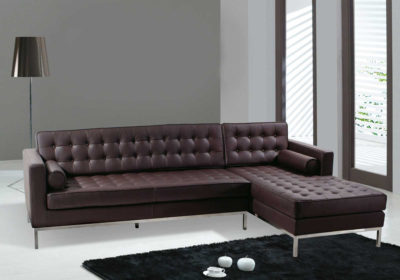 Italian Modern Sectional Sofas With Genuine Brown Leather