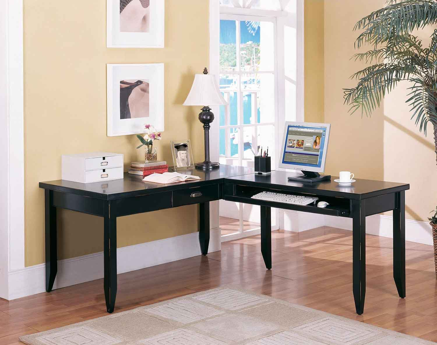 Black L Shape Desk For Home Office on Latest Writing Desk With Drawers