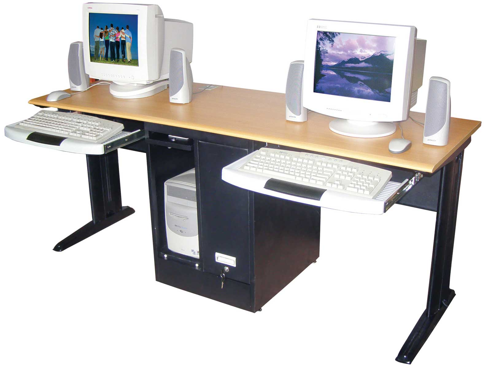 Luxor Two Person Black Computer Workstation