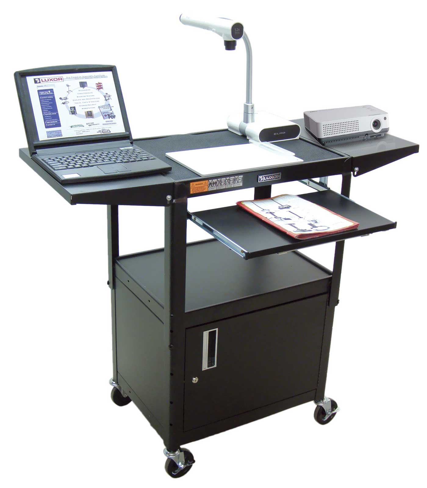Luxor compact black mobile computer workstation