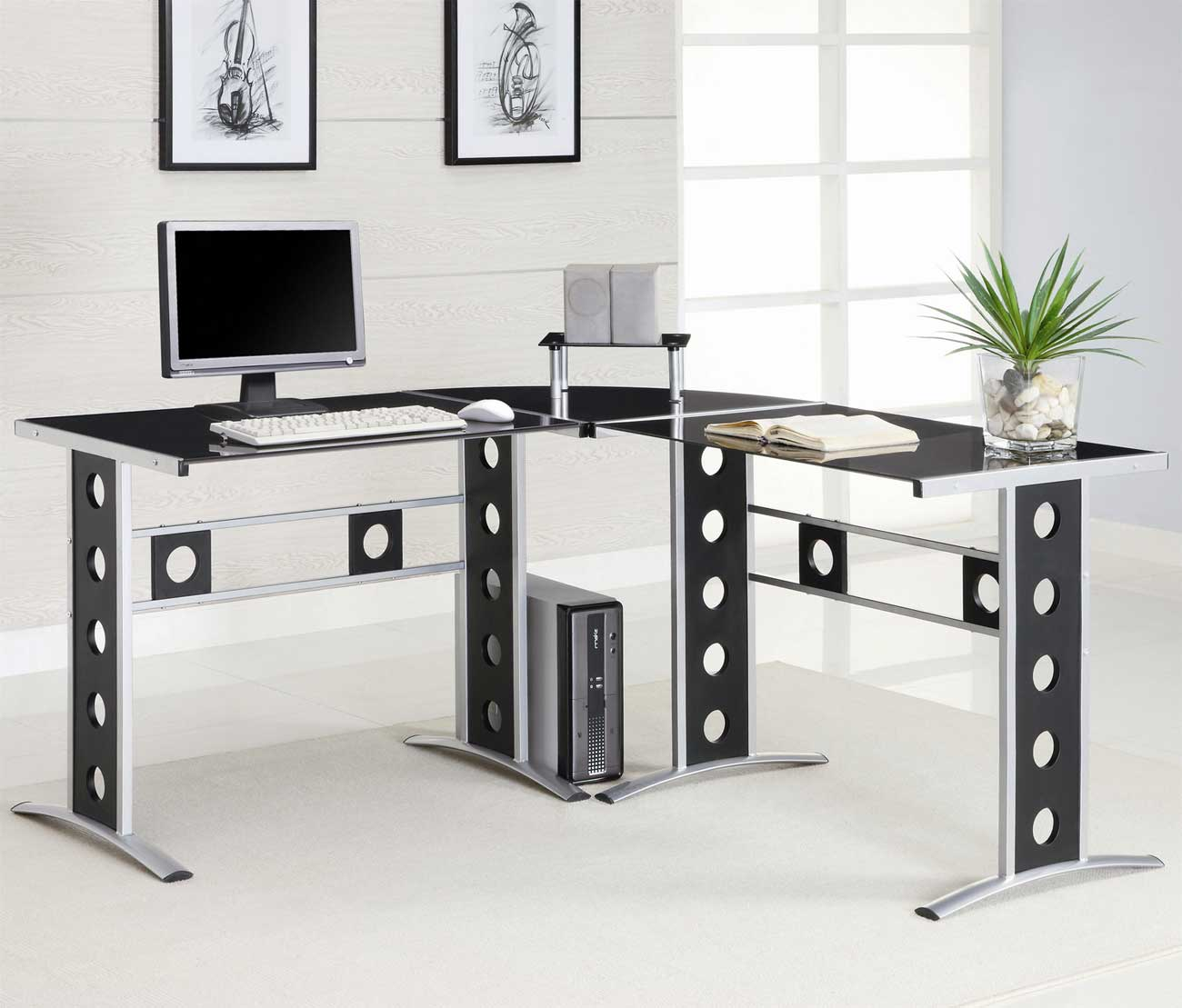 modern l shape and silver frame black glass desk