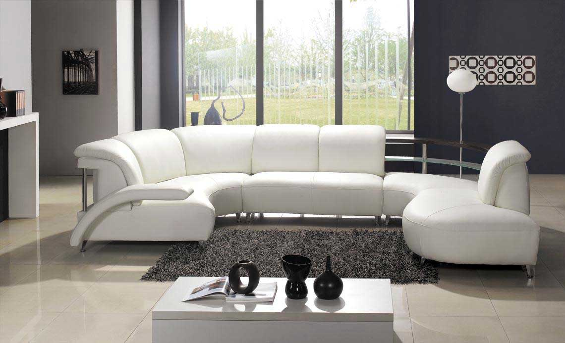 Modern Leather Sectional Sofas in White Shade