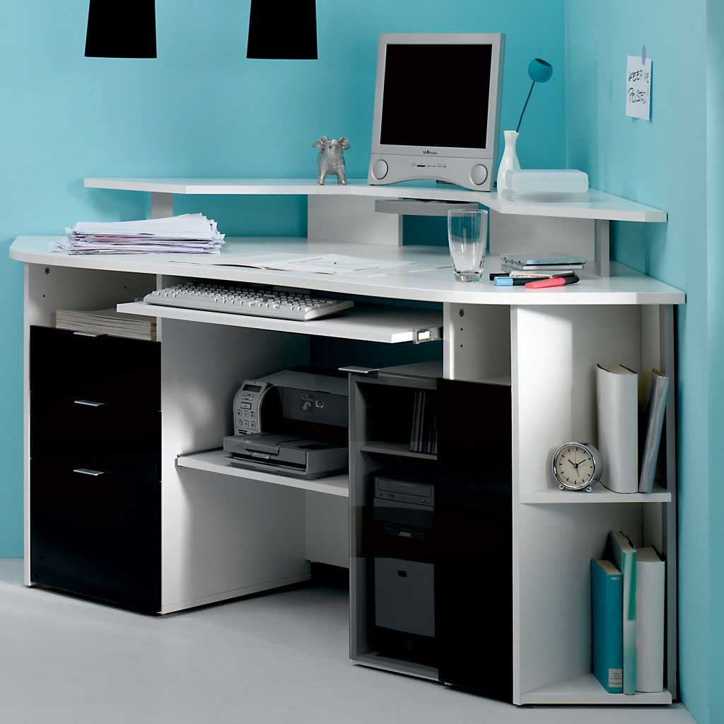 Corner computer desk furniture office furniture for Modern white office