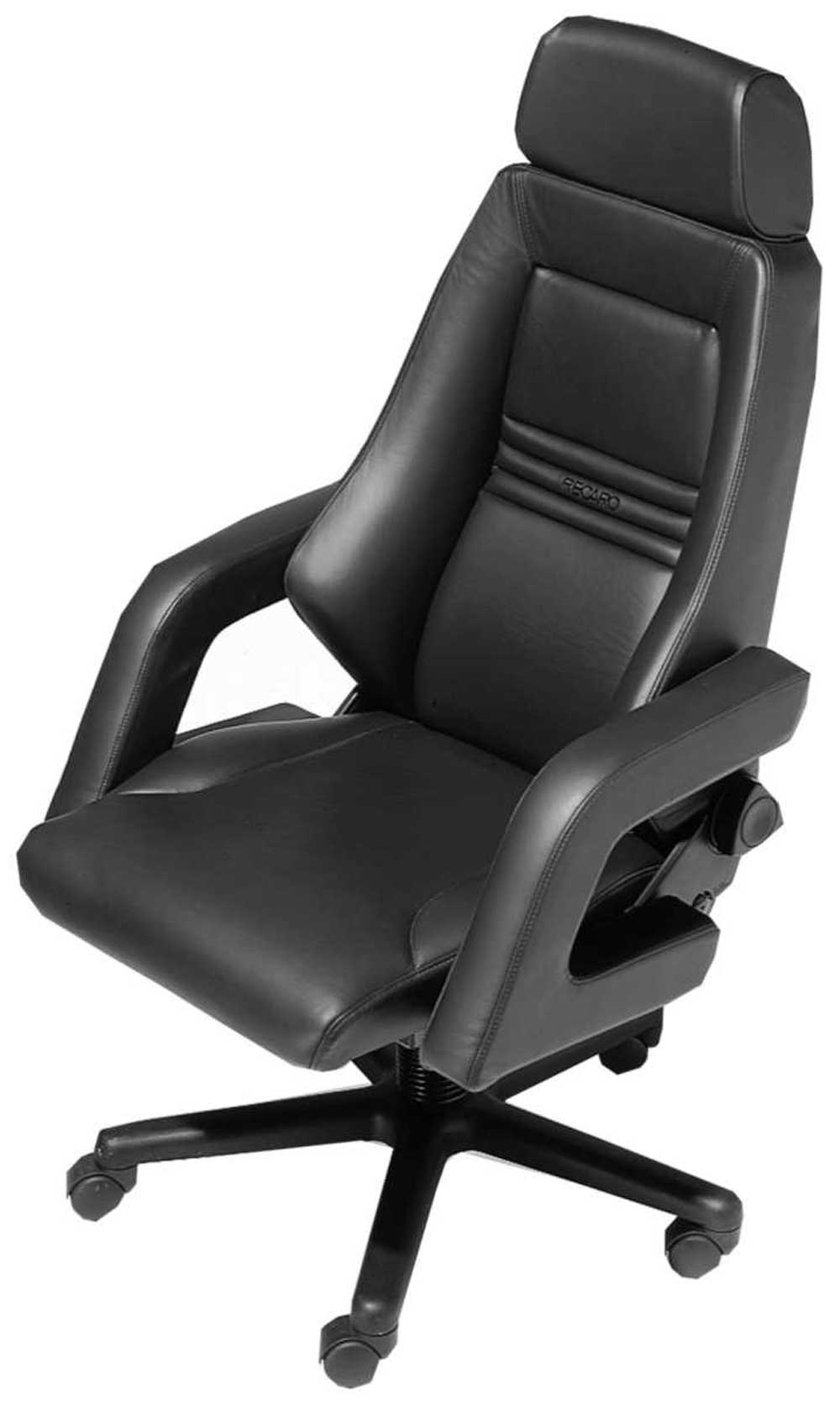 Modern ergonomic elegant black leather adjustable office chair