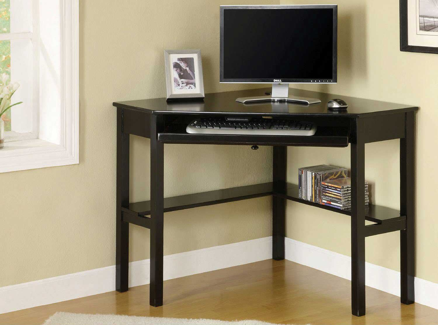 Porto Corner Computer Desk in Black Finish