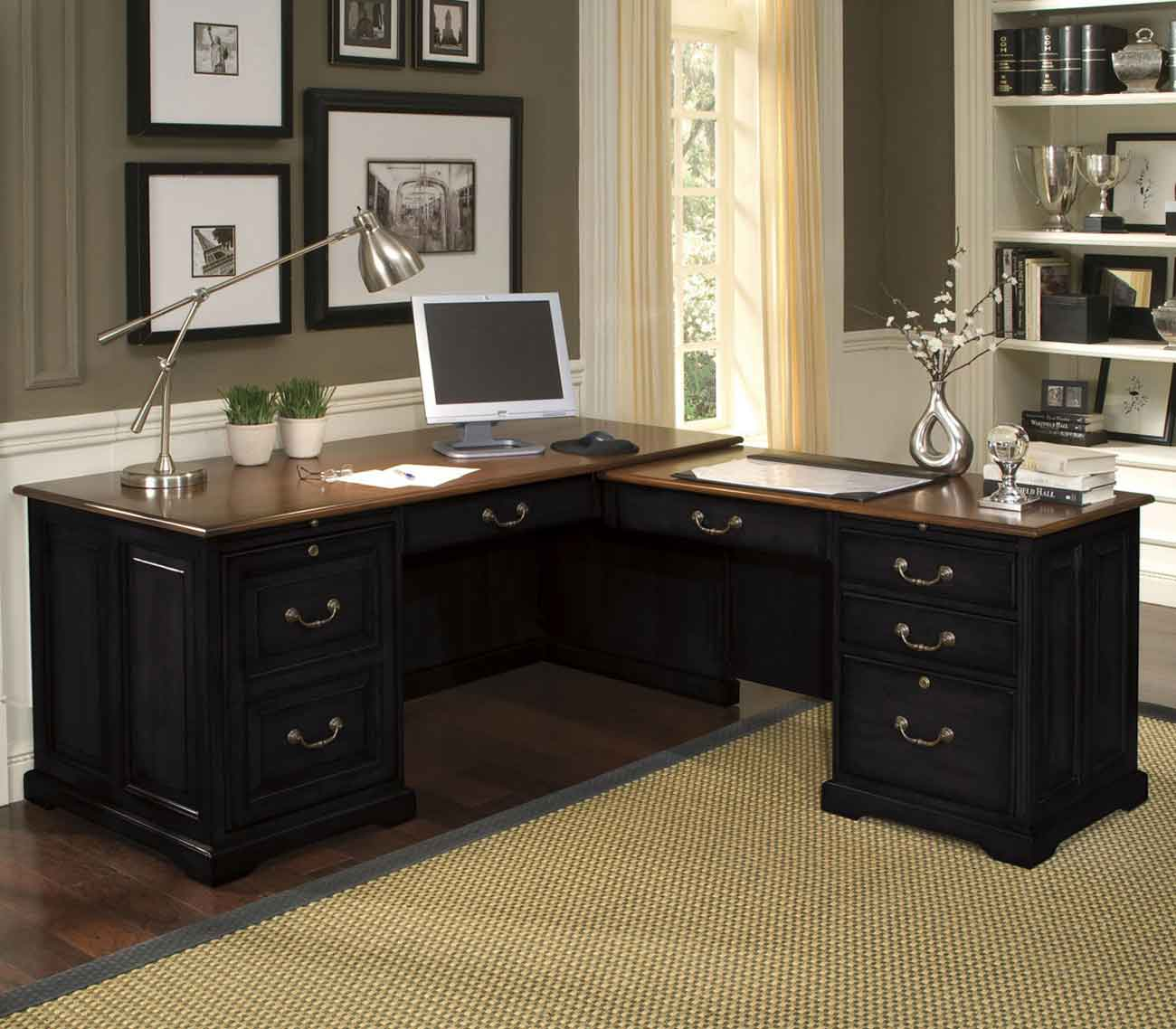 Black l shape desk for home office Home office desks