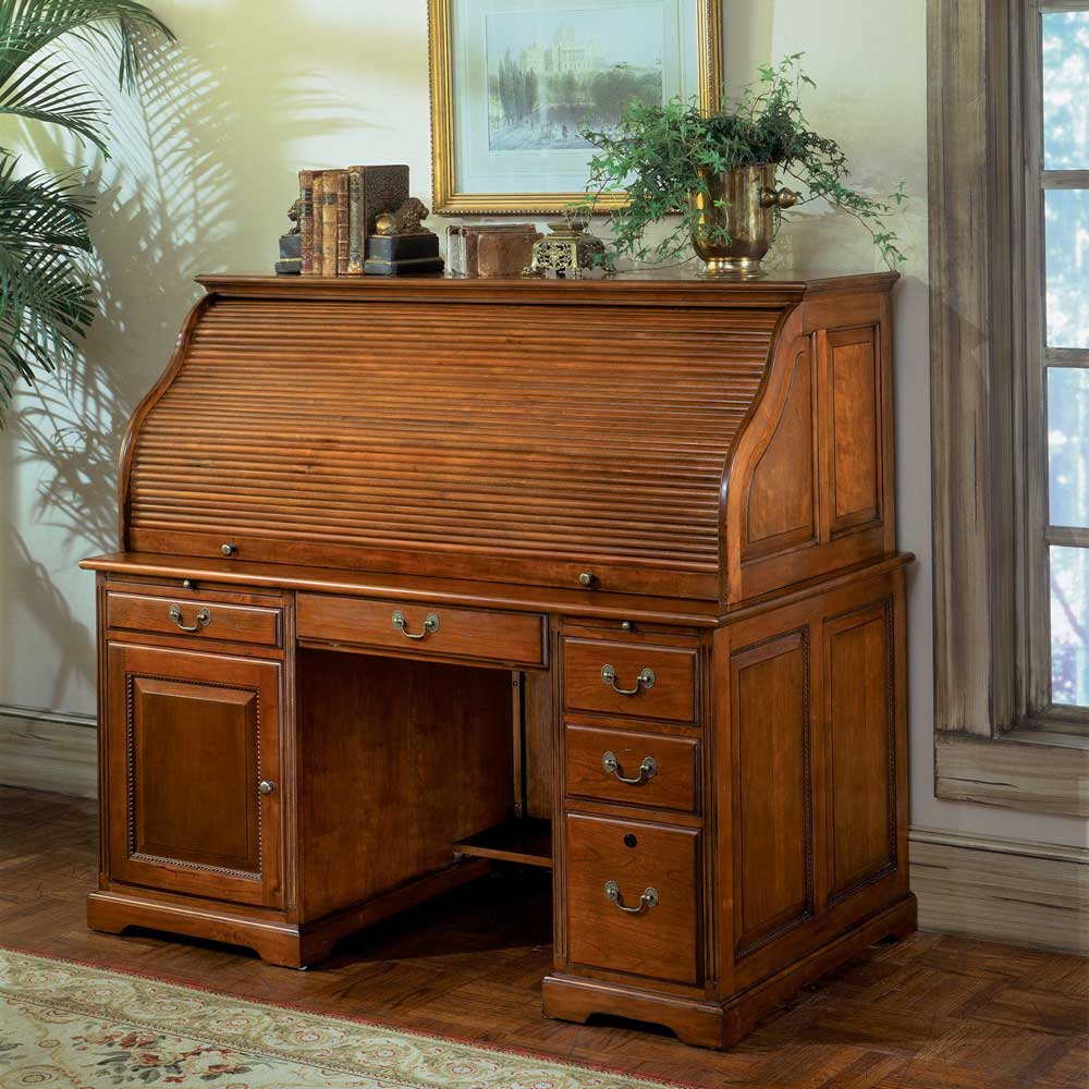 Riverside Meridian Oak Computer Roll Top Desk