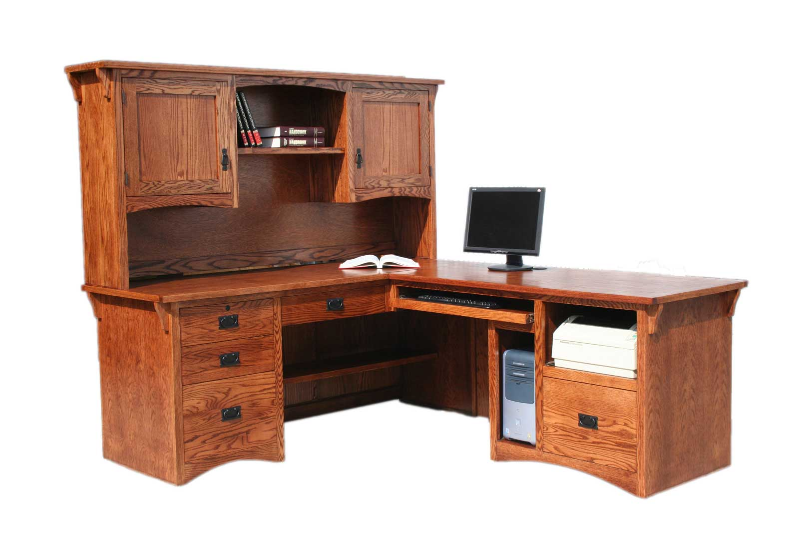 Solid Oak Computer Workstation for Home Office