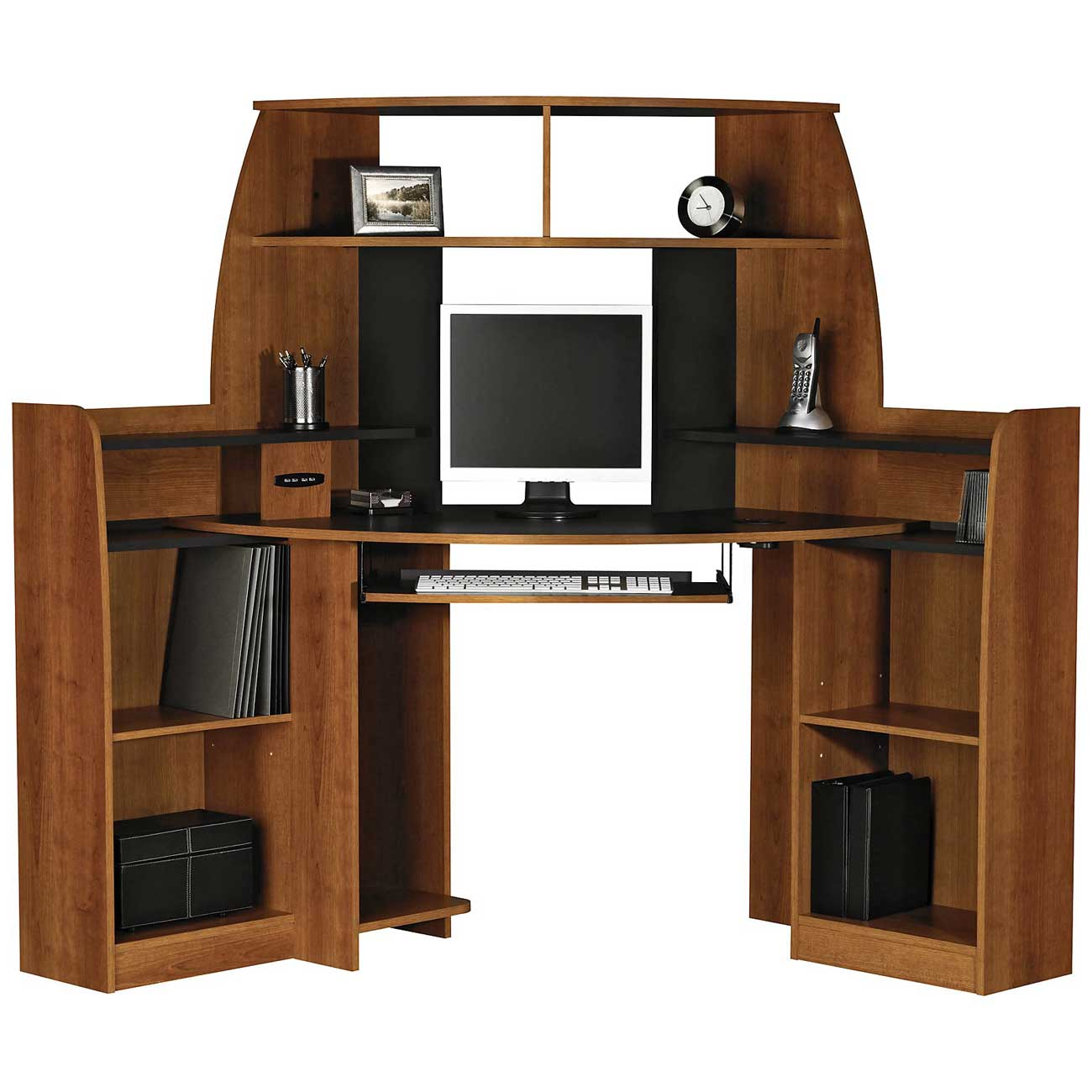 Solid Wood Corner Computer Desk With Double Storage