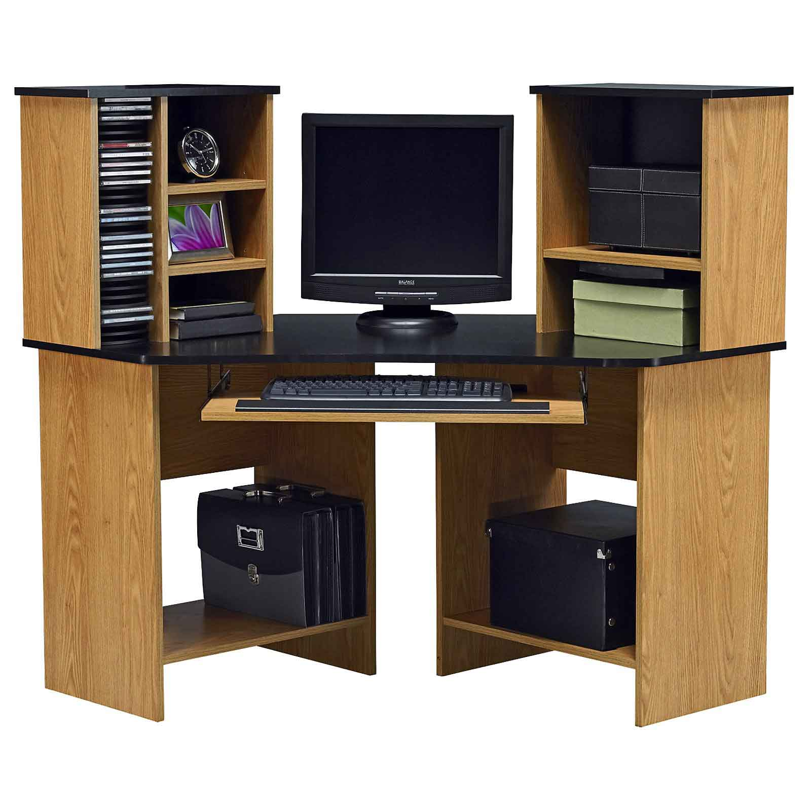 Solid wood corner home office computer in desk