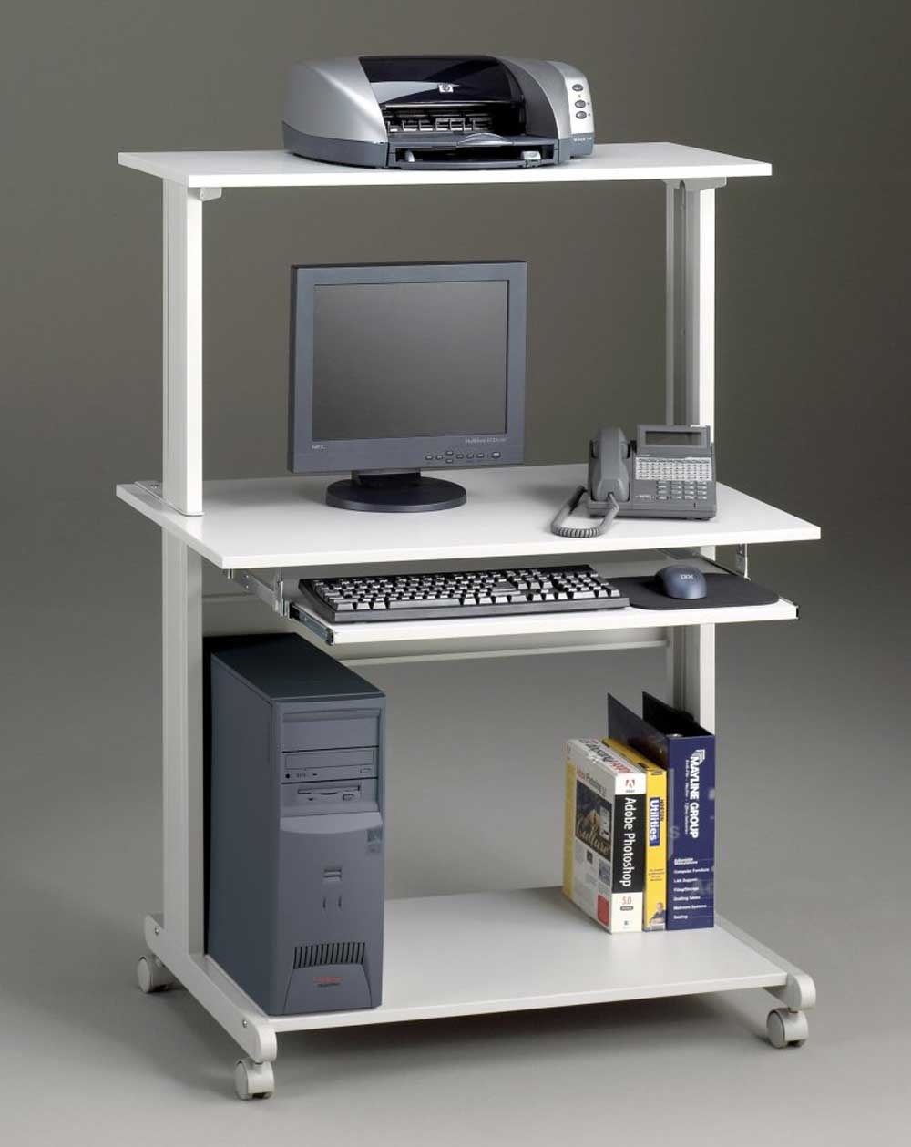 Stylish mobile home office computer cart