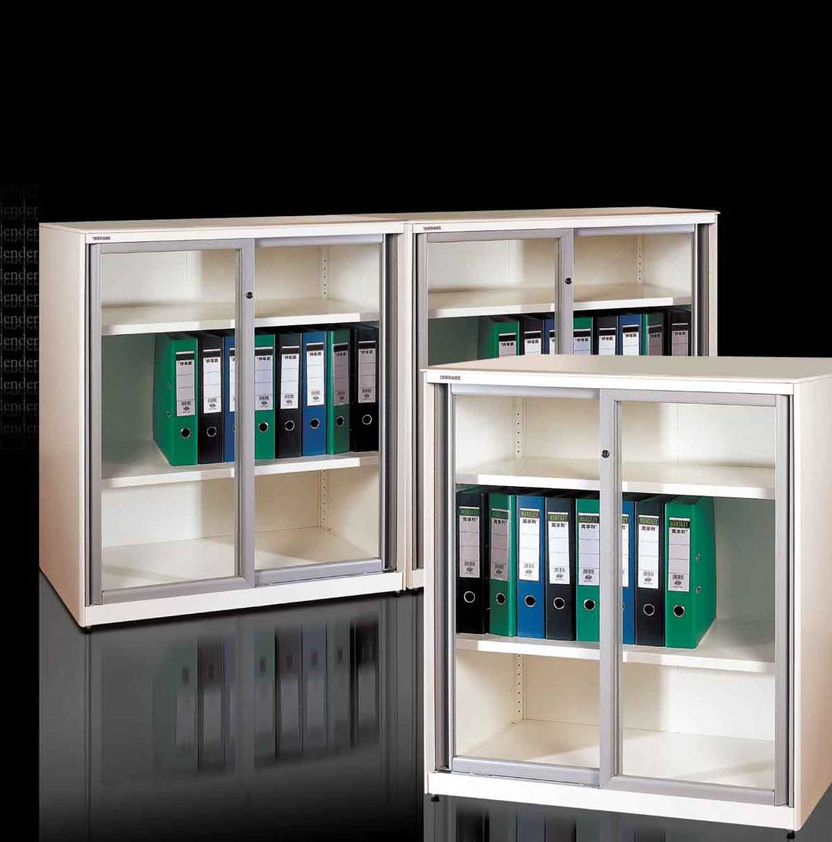 Super Slim Design Glazed Sliding Door Office Filing Cabinets