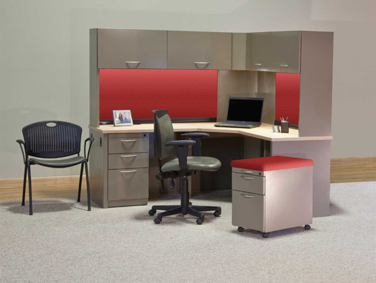 TRACE Corner Computer Desk with Top Storage