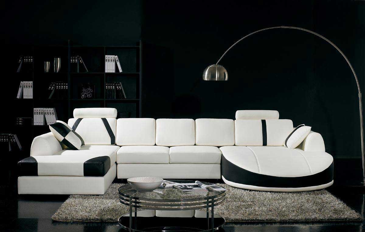 Ultra stylish top grain leather adjustable sectional sofas