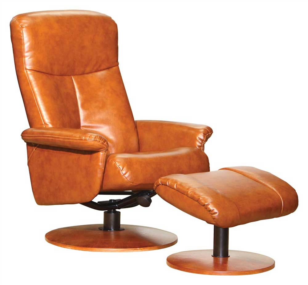 Vintage Walnut Leather Swivel Recliner with Ottoman
