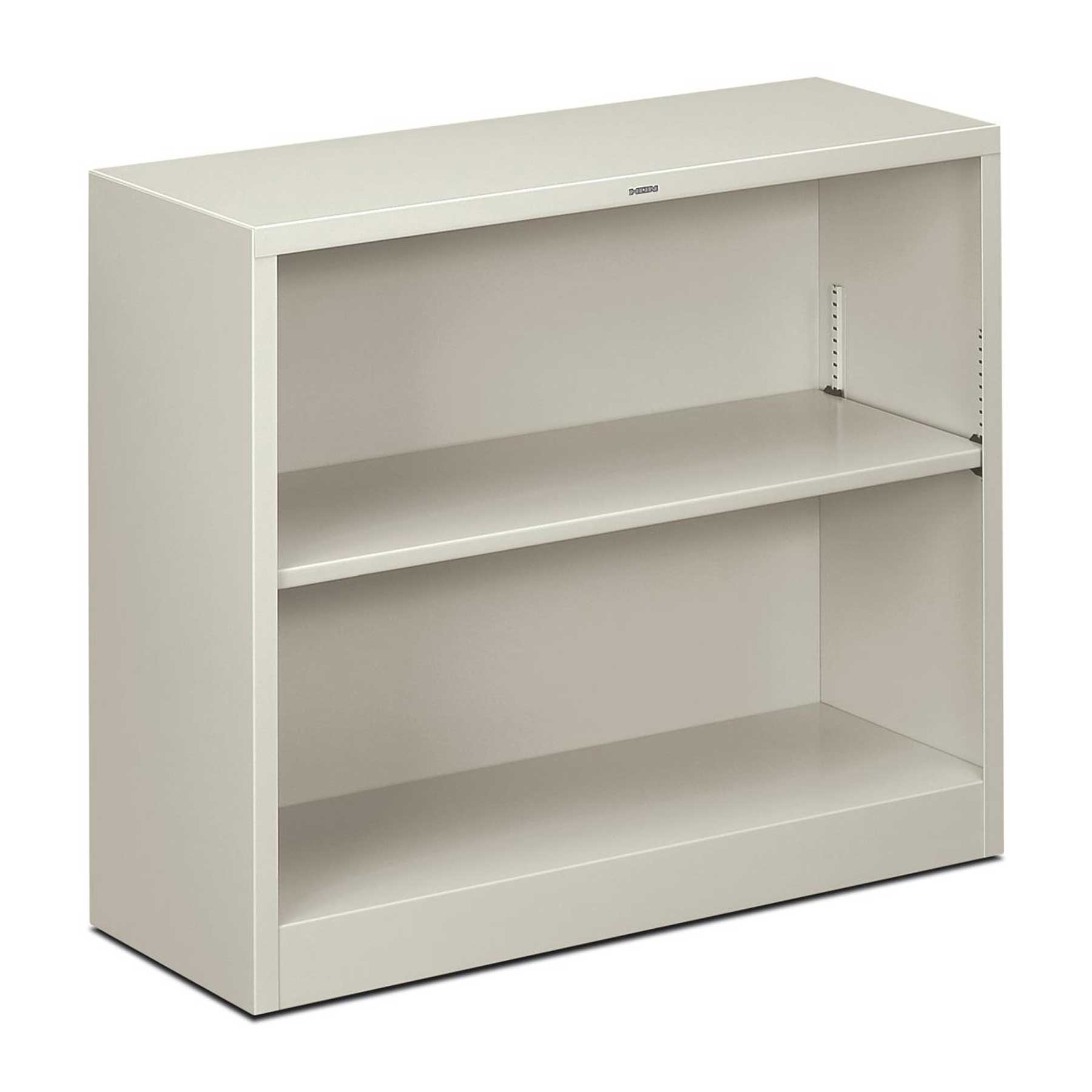 White HON metal bookcase with two shelves