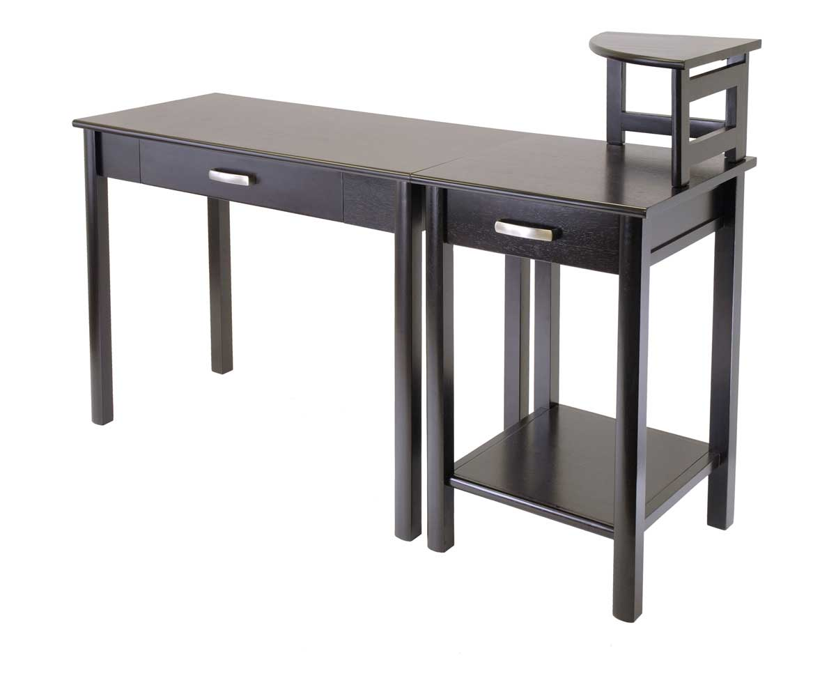 Winsome Liso Black Corner Computer Desk with Hutch
