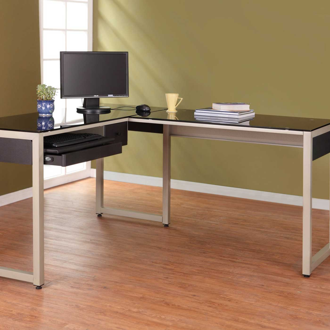 Zoose Black Glass L-Shaped Metal Computer Desk