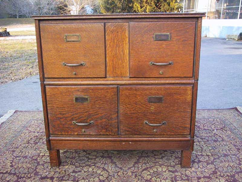 antique oak file cabinet with 4 drawers