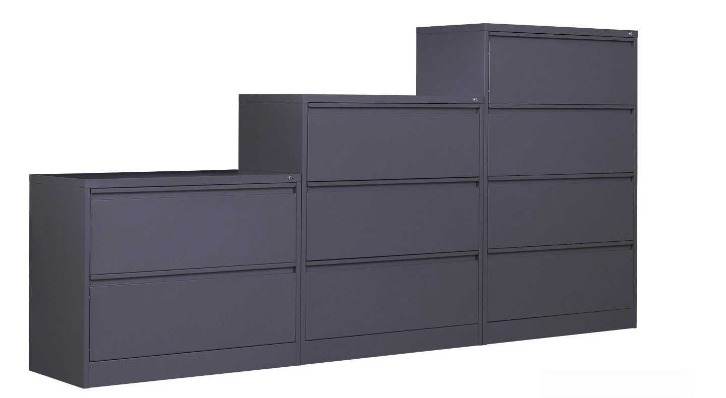 black steel lateral storage cabinets