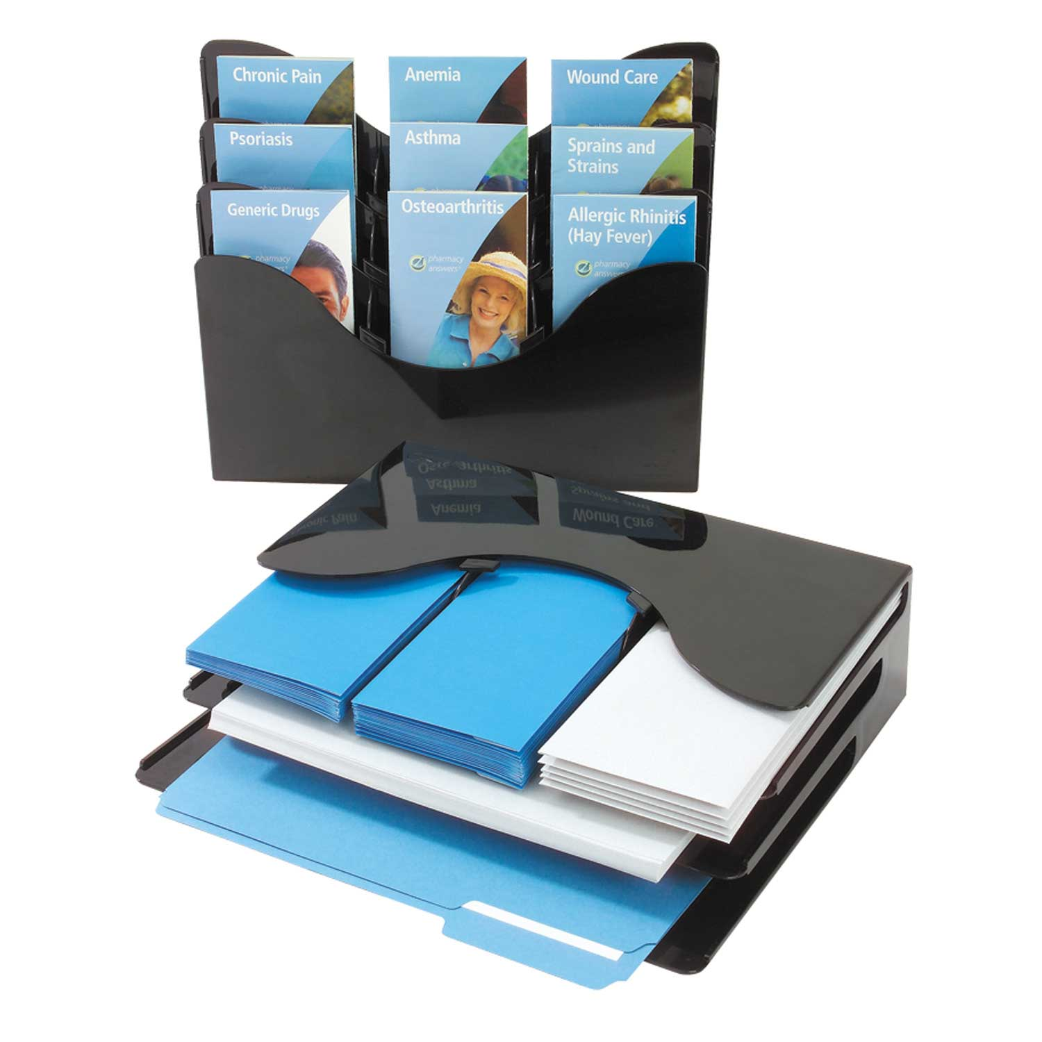 glossy black office document organizer