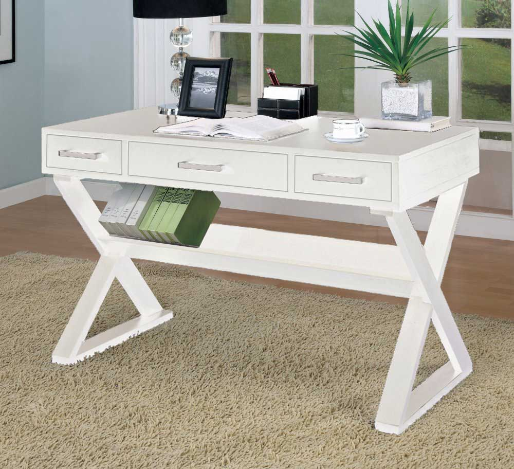 Stylish Simply White Home Office Space Interior Design With Greeny