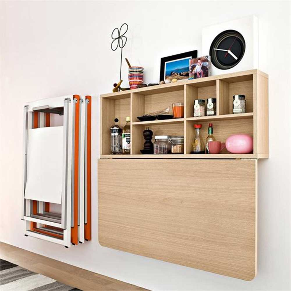 modern wooden wall folding storage