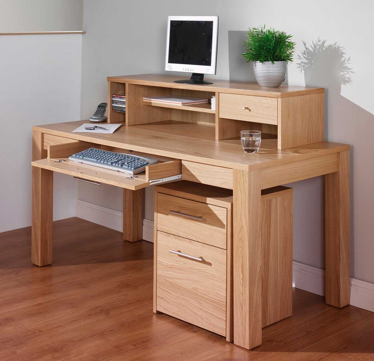 oak corner computer desks natural finish