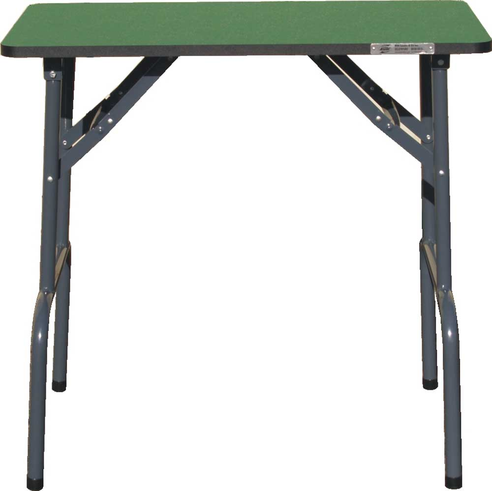 small green folding grooming table