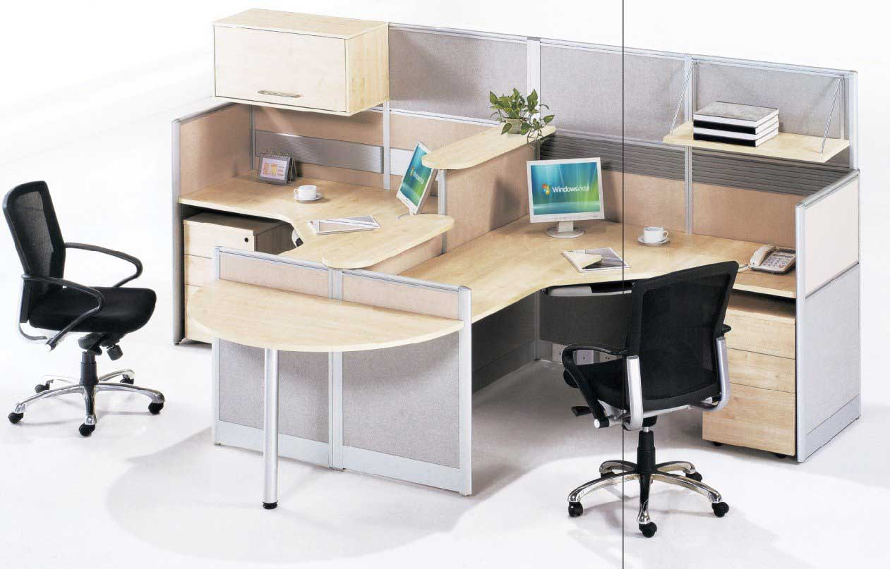 used office workstations with two desktop seats