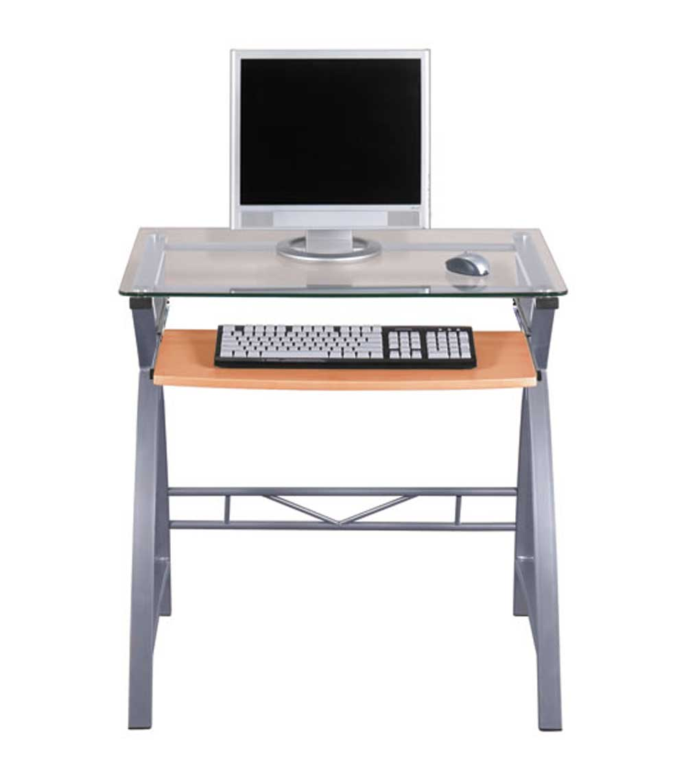 Z line glass computer desk for home office Designer glass computer desk
