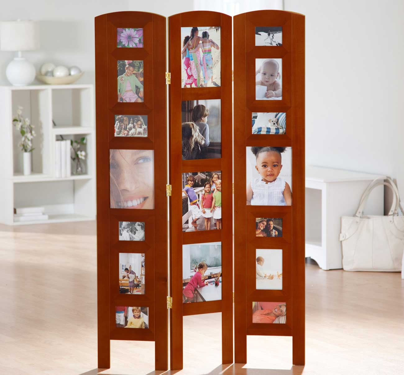 3 Panel Photo Frame Collection Honey Room Divider