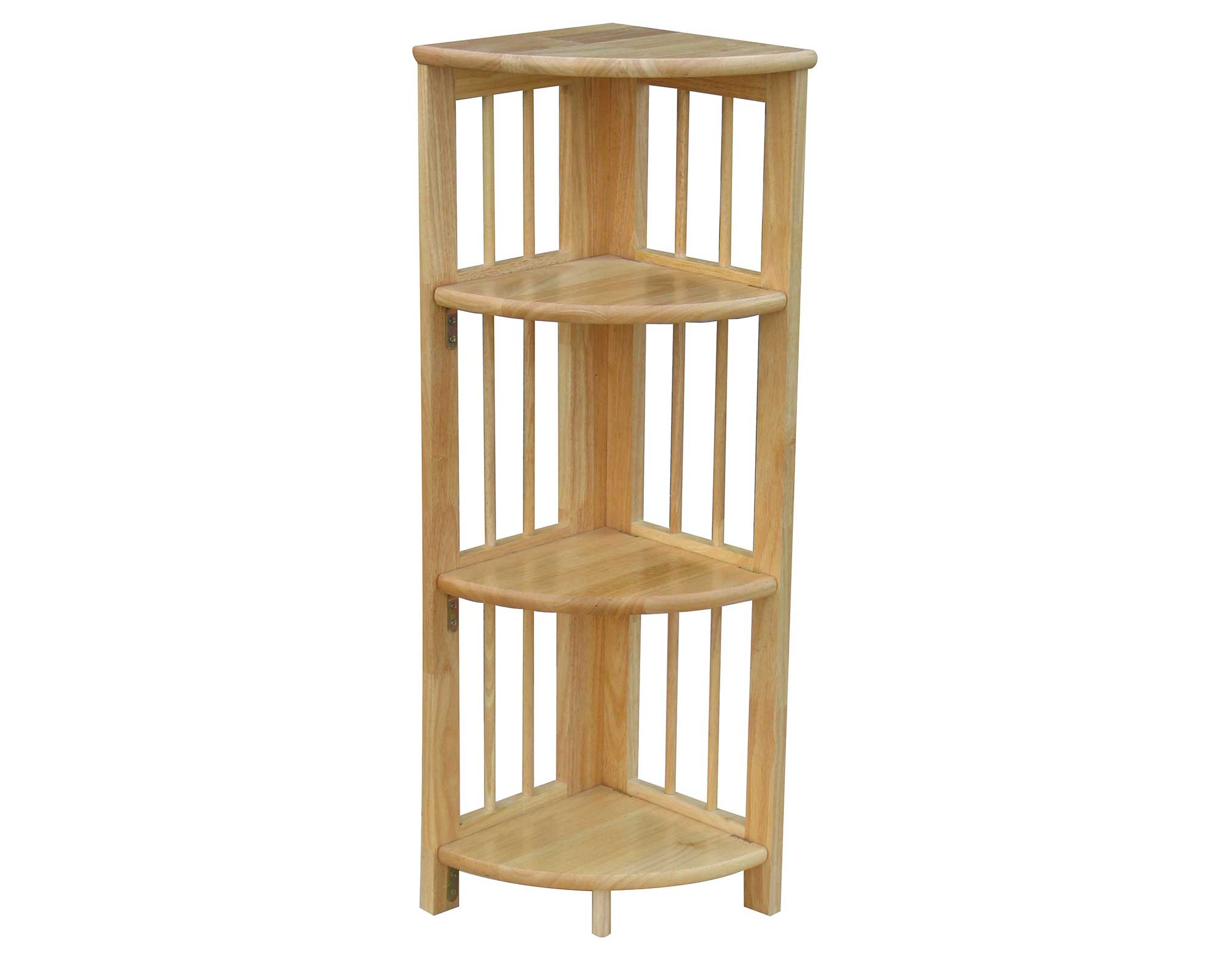 4 Shelves Natural Wood Corner Folding Bookcase