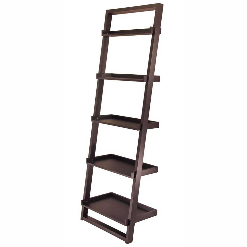 5 Tier Black Folding Book Shelf
