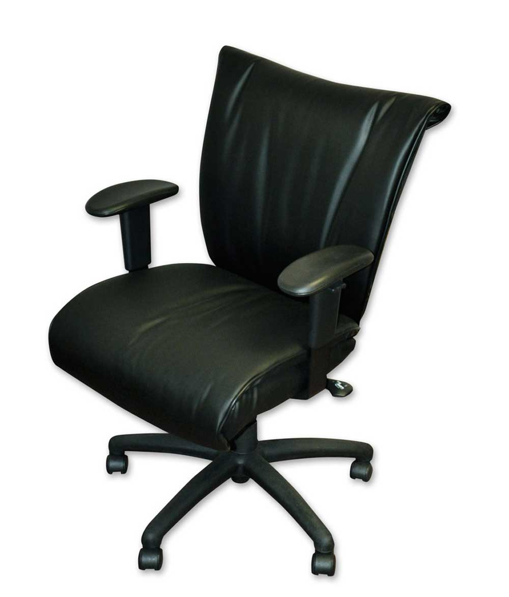 Adjustable angle black ergonomic leather chair