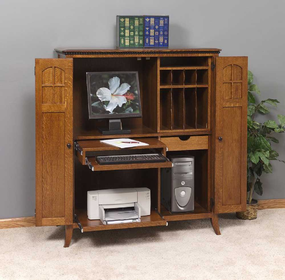 Computer armoires office furniture for Solid wood furniture