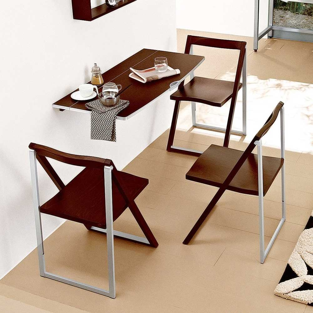 Wall mounted tables on pinterest wall mounted table for Small dining table with chairs