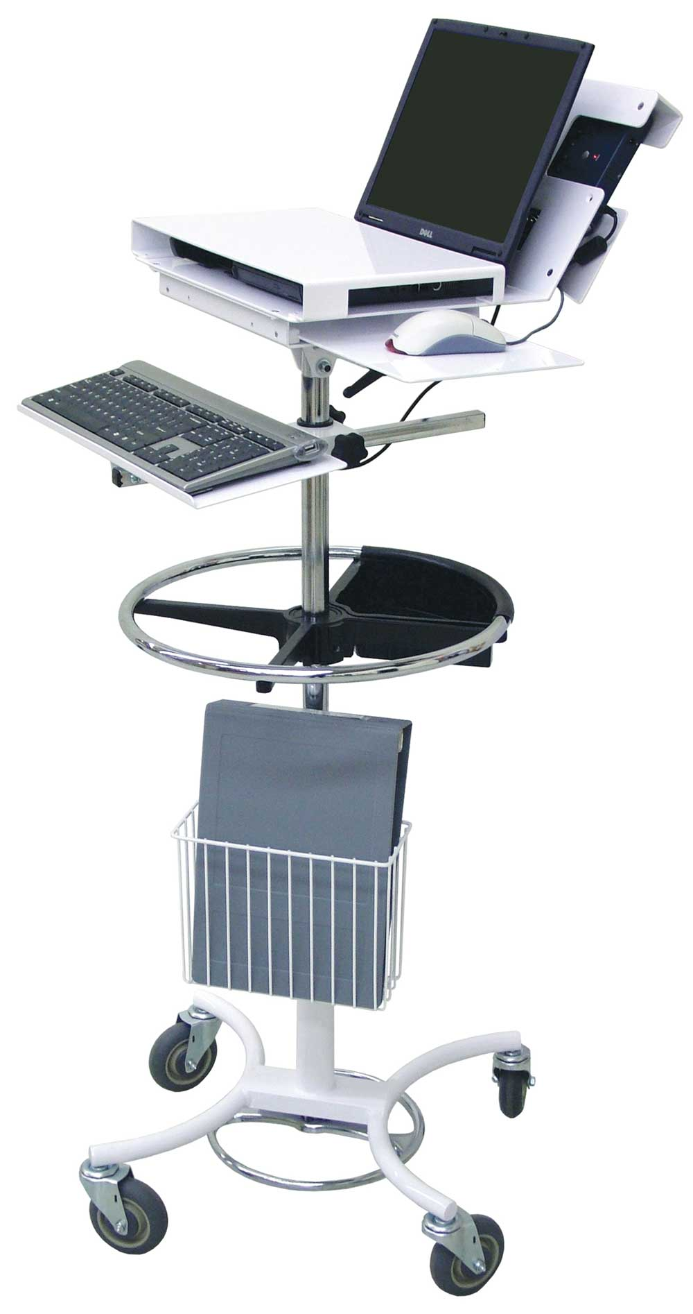 Battery-powered mobile hospital workstation stands