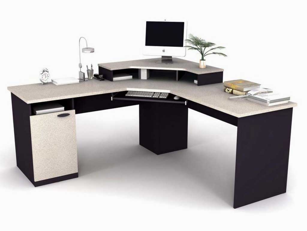 Bestar Contemporary White Corner Office Computer Desk
