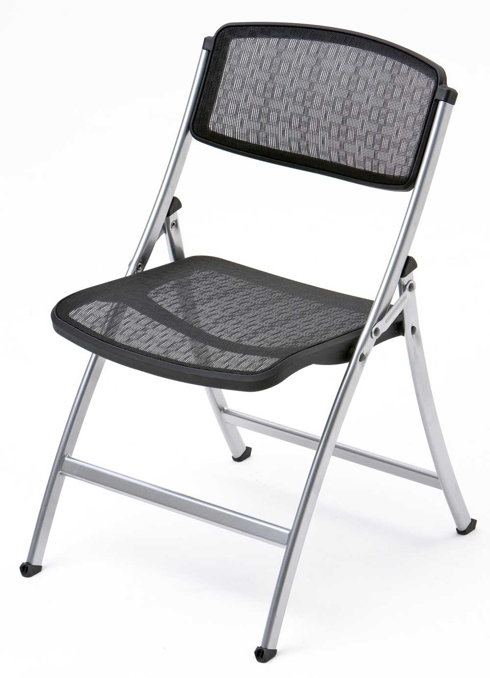 Black Silver Mesh Custom Folding Chair